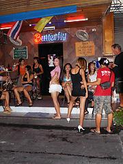 Candids of playful Ladyboy whores on Walking Street in Pattaya