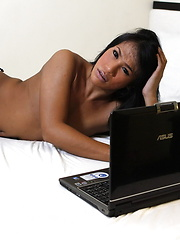 Ladyboy Brianna wanks her dick and shoots her load in front of her webcam