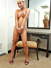 Hot blonde Thai tranny loves jerking off
