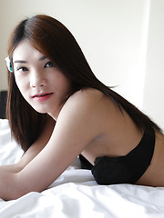 20 year old Thai ladyboy stripping for white tourist