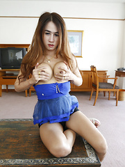 Thai ladyboy with big fake tits and long hair gets facial from tourist