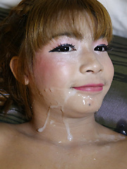 18 year old Thai ladyboy gets a creampie from a big white cock