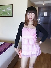 Horny Thai Ladyboy with lovely face enjoys ass packing