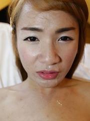 Small boobs Thai Ladyboy with hairy cock enjoys ass fucking