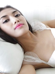Beautiful feminine Thai Ladyboy enjoys hard ass packing